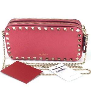 VALENTINO Rockstud Leather crossbody pouch